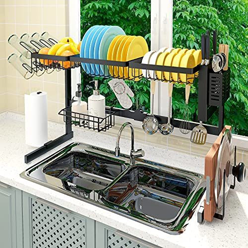 【Fit Sink 24'- 41' L】 2021 Adbiu Over Sink Dish Drying Rack (Expandable Dimension) Snap-On Design 2 Tier Kitchen Large Dish Drainer Stainless Steel Counter Storage Organizer