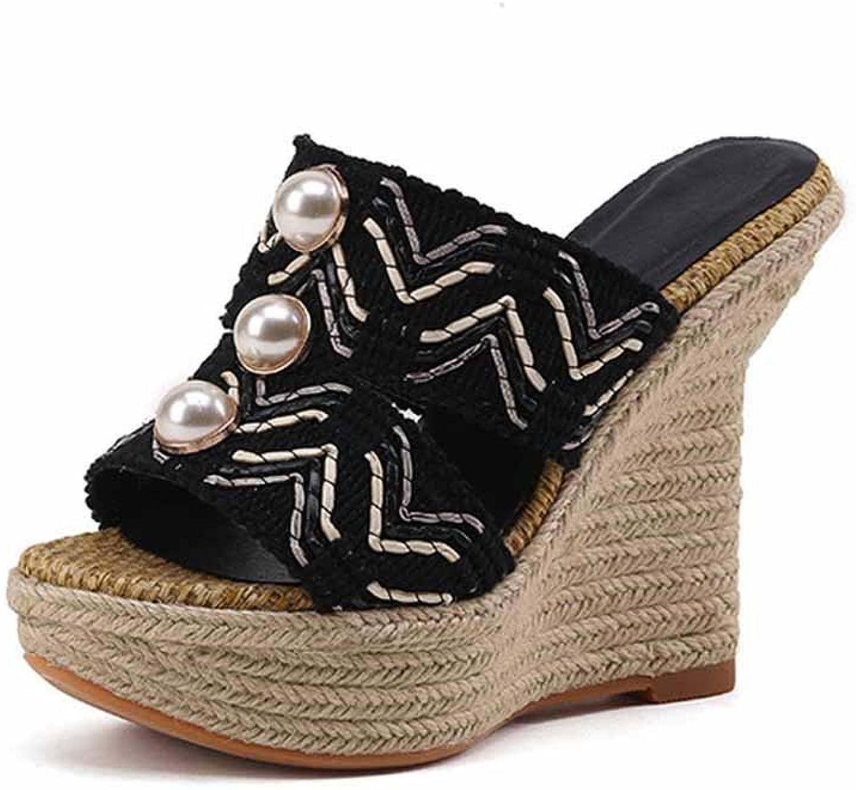 Women Open Toe Wedge Sandals 2018 Summer Pearl Super High Heel Platform Outdoor Slippers Size 33-40
