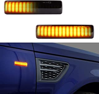 Land Rover Front Side Marker Light, Car Work Box Smoked Lens Sequential Amber LED Turn Signal Light for 2006-13 Range Rover Sport, Discovery3 2005-2008, Freeland2 2008-2009 (2 Pack)