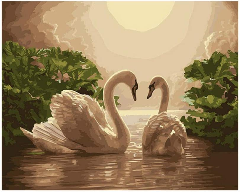 Frameless Diy Oil Painting swan Numbers 2021 model Kits by Cheap sale Wrinkle-F Paint