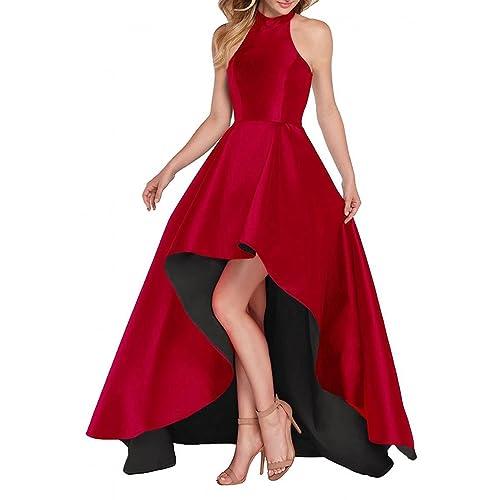 585f9eb7f0 Dannifore Halter High Low Evening Party Dress Satin Prom Dresses Sleeveless