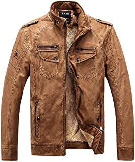 Vintage PU Leather Jacket Mens Winter Casual Motorcycle Faux Leather Jackets Coat