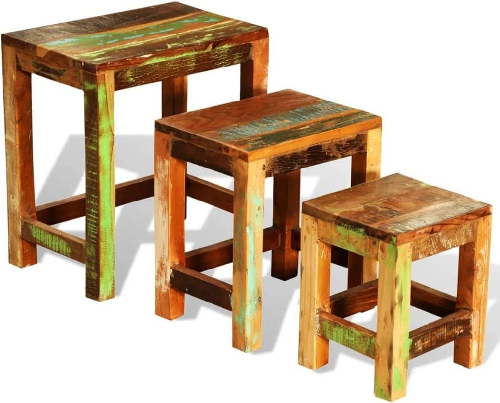 Side New product Tables Set 3 A surprise price is realized Pieces Vintage Wood Reclaimed BIG by End Table
