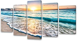 Cao Gen Decor Art-S58829 5 Panels Framed Wall Art Sunset Ocean Printed on Canvas