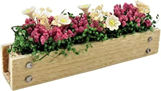 Dolls House Wooden Window Box with Pink & White Flowers 1:12 Scale Accessory