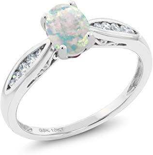 10K White Gold White Simulated Opal and Diamond Women's Engagement Ring (0.70 Ct Cabochon, Available in size 5, 6, 7, 8, 9)