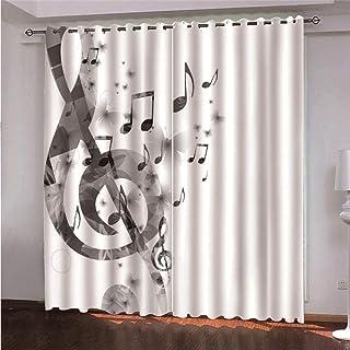 YMLJH Cortinas Aislantes Térmicas Nota Musical Cortinas Opacas de Dormitorio y Salón con Ojales Térmicas Aislantes 2 Paneles 2 x 75 x166cm(An x Al)
