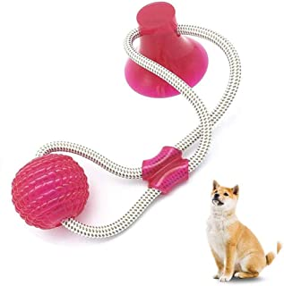 Pet Supplies Self-Playing Rubber Ball Toy with Suction Cup Dog Ropes Toy with Suction Cup Dog Interactive Molar Chew Rubber Bite Chew Toys Toothbrush Puppy Dental Care Accessory Nontoxic Natural