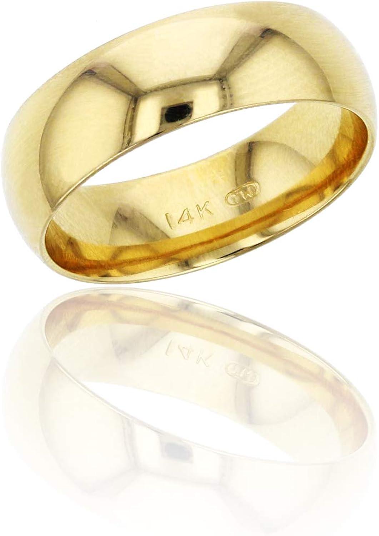 DECADENCE 10K or 14K Yellow 正規品送料無料 White Plain トレンド Wedd Gold Polished 6mm