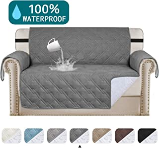 100% Waterproof Couch Cover for Leather Couch Protector Pet Protector Covers For Living Room Non Slip Loveseat Sofa Cover For Pets Quilted Couch Protector, Machine Washable(Loveseat 54,Gray)