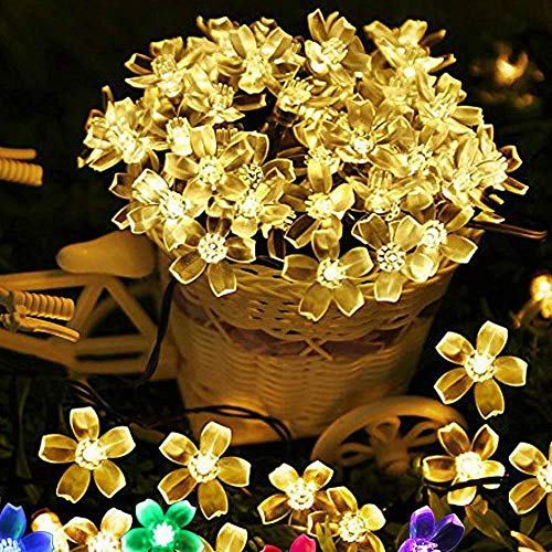 AdoDecor Cherry Flower 7M 50 Led Solar String Light for Garden Decoration Home Party Christmas Solar Lamp Fairy Lights Outdoor WaterproofGift