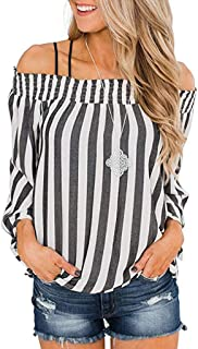 Blouse Womens Fashion Long Sleeve Stripe Print Sexy Shirts Off Shoulder Tops ZYEE