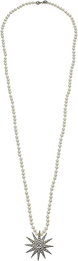 "Kenneth Jay Lane 36"" White Pearls w/ Silver/Crystal Starburst Pendant Necklace"