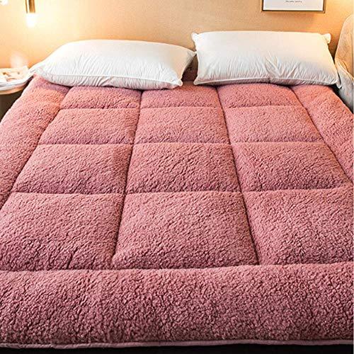 jhgsdh Colchón de Cama de Tatami japonés, colchón Acolchado Plegable, colchón de futón Shiki Grueso y Transpirable, Almohadilla para Dormir portátil para Invitados, Rosa King
