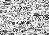 SHUHUI Alfombra temática Juego Graffiti Blanco y Negro Simple,Gamepad,Auriculares,Consola Juegos,computadora para automóvil,habitación para niños,Cocina,baño,Alfombra Franela Suave Absorbente