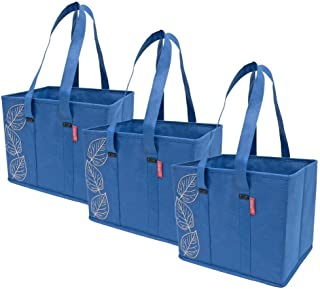 Planet E Reusable Grocery Shopping Bags – Large Collapsible Boxes With Reinforced Bottoms (Pack of 3, Navy)