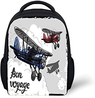 Kids School Backpack Going Away Party Decorations,Retro Airplane Poster Inspired Bon Voyage Lets Travel Fly,Blue Red Grey Plain Bookbag Travel Daypack