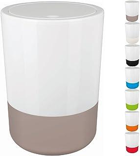 Spirella Design Poubelle à couvercle pivotant Moji Avec anneau pour fixer les sacs poubelle Salle de bains 5 Litres Poubel...