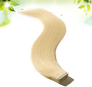 40 Pieces Tape in Hair Extensions 100g Rooted Tape on Remy Human Hair Double Side Tape Seamless Skin Weft 40pcs Long Straight Silky (20 inch 100g,#60 Platinum Blonde)