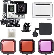 SOONSUN 40m Underwater Waterproof Dive Housing Case with 3-Pack Dive Filters for GoPro Hero 3, Hero3+, Hero 4 Silver Black Cameras - Include Waterproof Backdoors, Buckle, Tripod Adapter, Lens Cap