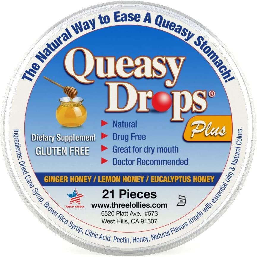 Queasy Drops Plus Honey & Pectin | 21 Drops | Nausea Relief (Chemo, Motion Sickness, Hangover etc.) | Drug Free & Gluten Free | 3 Flavors: Ginger Honey, Lemon Honey & Eucalyptus Honey