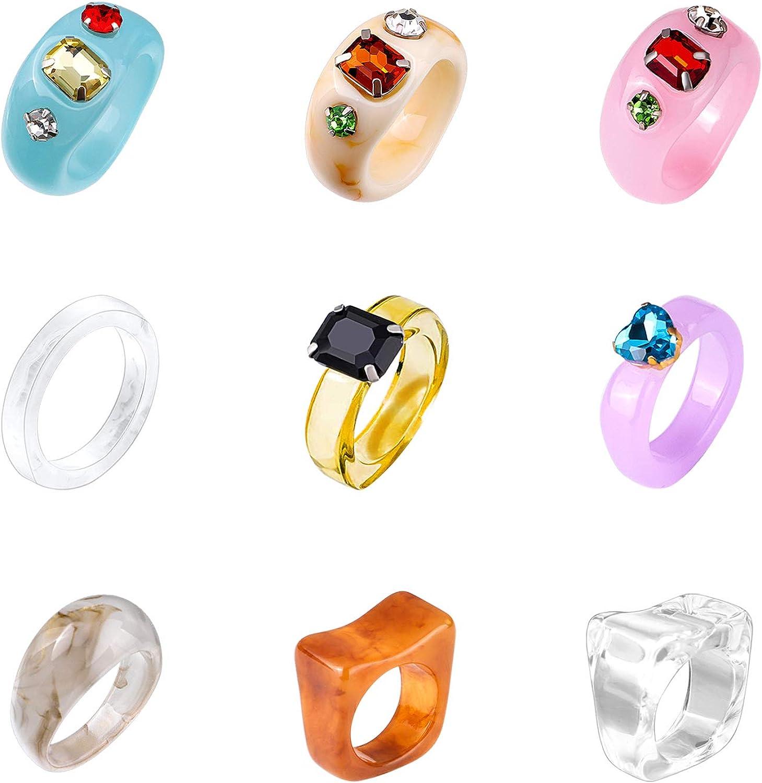 Biokia 9 2021 Pcs Resin Rings for Super special price Acrylic Retro Women Diamond R
