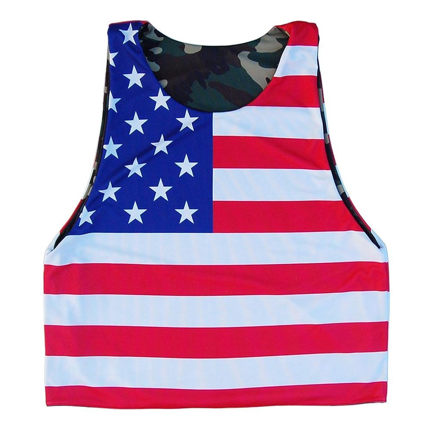 ペネロペ著者自分のAmerican Flag & Army CamoラクロスSublimated Reversible Pinnie