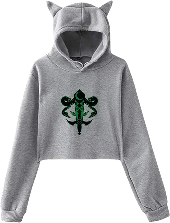 Cat Ear Crop Top Long Sleeve Pullover Hoodie for Women Teen Girls Sweatshirt EAROBA Sanders Sides Sweater
