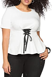 Aberyamee Women's Plus Size Round Neck Front Self Tie Tee Shirt Short Sleeve O-Neck Pleated Ruched Promenade Tops