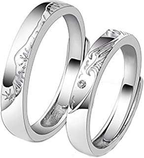 "Impilabile ""Mountain Dream and Vow"" Sterling Silver Couple Anello, Significato Amore indistruttibile, confortevole e non s..."