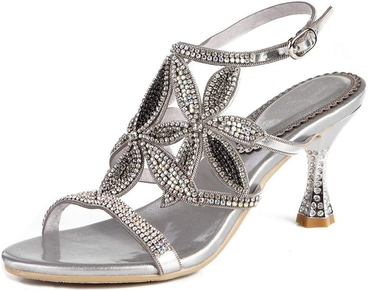 LizForm Women Cutout Studded Sandal Strappy Bridal Evening Wedding Heeled Sandals