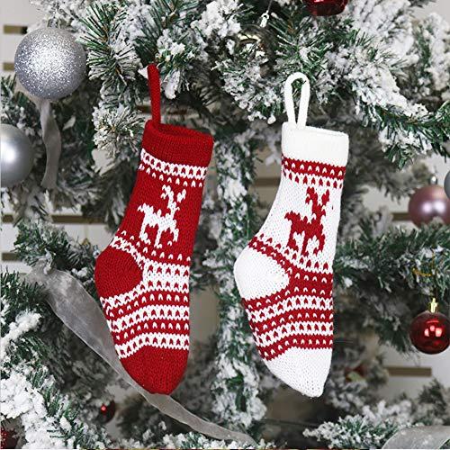 Charlemain 2Stück Nikolausstrumpf klein, Nikolausstiefel zum Befüllen, 20 X 6.5CM Weihnachtsstrumpf, hängende Weihnachtssocken Nikolaussocken für Baum