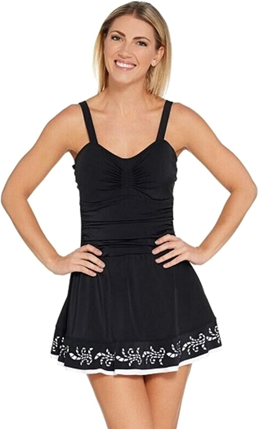 Denim & Co. Beach Ruched Laser Cut Hem Plus Size Swimdress Swimsuit