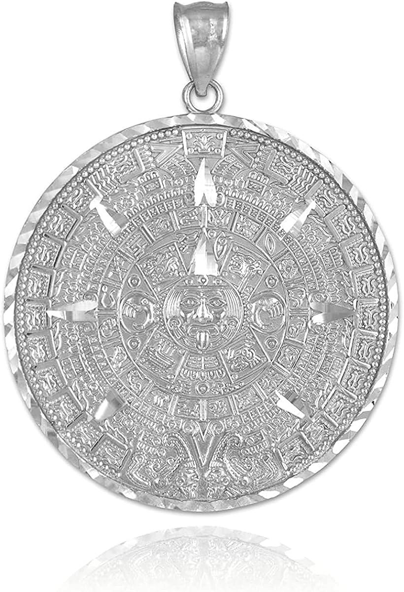 10k White Gold Aztec Mayan Calendar Pendant Charm - Choice of Size