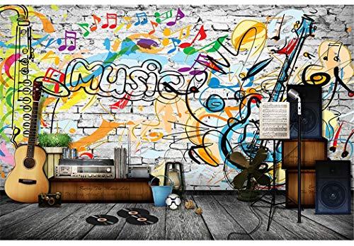 Tapete Mural Scrawl Musik Bricks Wallpaper Wandbild Für Rock Bar Kaffee Ktv Hintergrund 3D Fototapete Wandpapier, 150 * 105 Cm
