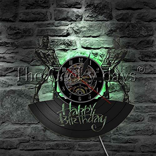 Reloj de pared de vinilo con texto en inglés 'Happy Birthday', para fitness, culturismo, fuerte y guapo, lámpara de pared LED, regalo de cumpleaños con luz nocturna LED