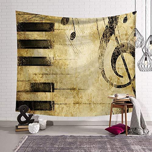 KHKJ Serie de Notas Musicales Tela Colgante Dormitorio cabecera Arte Pared Tapiz decoración del hogar Tela de Fondo A7 200x180cm