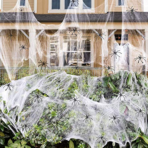 1400 sqft Halloween Spider Webs Decorations with 150 Extra Fake Spiders, Super Stretchy Cobwebs for Halloween decor Indoor and Outdoor