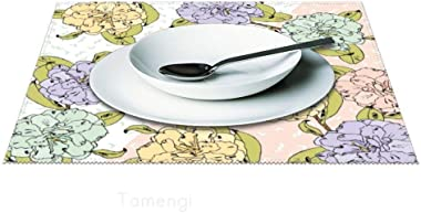 """Placemat Set of 4 for Dining Table, Pastel Flowers Washable Place Mat Non-Slip Heat-resistand Kitchen 12""""x18"""" Table Mats"""
