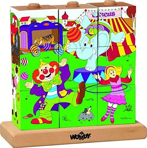 Woodyland 3 x 3 Circus Imagen Cubos Woody Puzzle En Clavijas (9 Piezas)