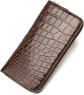EEKUY Crocodile Leather Wallet, Men's Leather Handmade Crocodile Skin Belly Wallet Long Clutch Bag Can Be Placed 8 Card Mobile Phone Cash,Brown