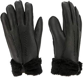 Women Sheepskin Leather Mittens Girls' Warm Fleece Gloves Ladies Outdoor Mitten