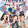 4th of July Decorations,67pcs Patriotic Party Decorations Set include Hanging Paper Fans,4th of July Banner,Latex Balloons Set,Foil Balloons and Photo Booth Props for Independence Day Memorial Day #5