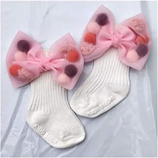 LiuQ, LiuQ Bebé Calcetines Nacidos de los bebés Calcetines con Grandes Lazos Niños Bebés algodón Calcetines for niñas niños Princesa del calcetín de los niños Lindos