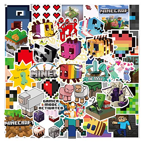 100 Pcs Funny Waterproof Vinyl Game Stickers for Minecraft, Trendy Decals Stickers Pack for Water Bottle Flasks MacBook Ps4 Xbox Refrigerator Luggage Case Car,Stickers for Kids Teens Boys Girls.