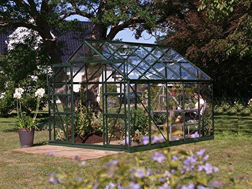 Gartenwelt Riegelsberger Gewächshaus Uranus - Ausführung: 8300 ESG 3 mm dunkelgrün, Fläche: ca. 8,3 m², mit 4 Dachfenster, Sockel: 2,54 x 3,17 m