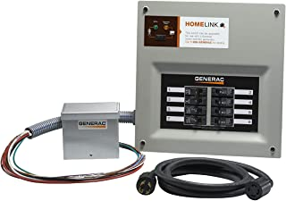 Generac 6854 Home Link Upgradeable 30 Amp Transfer Switch Kit with 10` Cord and Aluminum Power Inlet Box