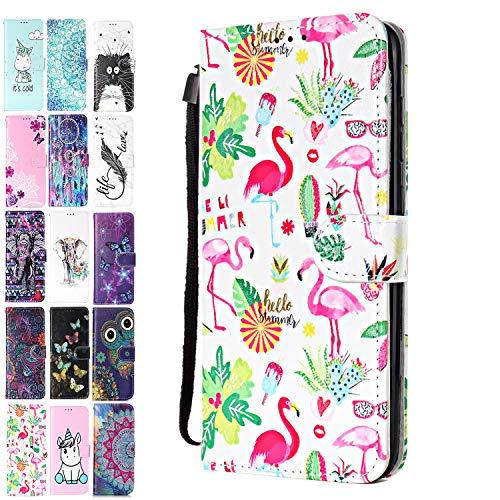 Ancase Lederhülle kompatibel für Huawei Y6 2019 / Honor 8A Hülle 3D Muster Flamingo-Sommer Handyhülle Flip Hülle Cover Schutzhülle mit Kartenfach Handytasche für Mädchen Damen