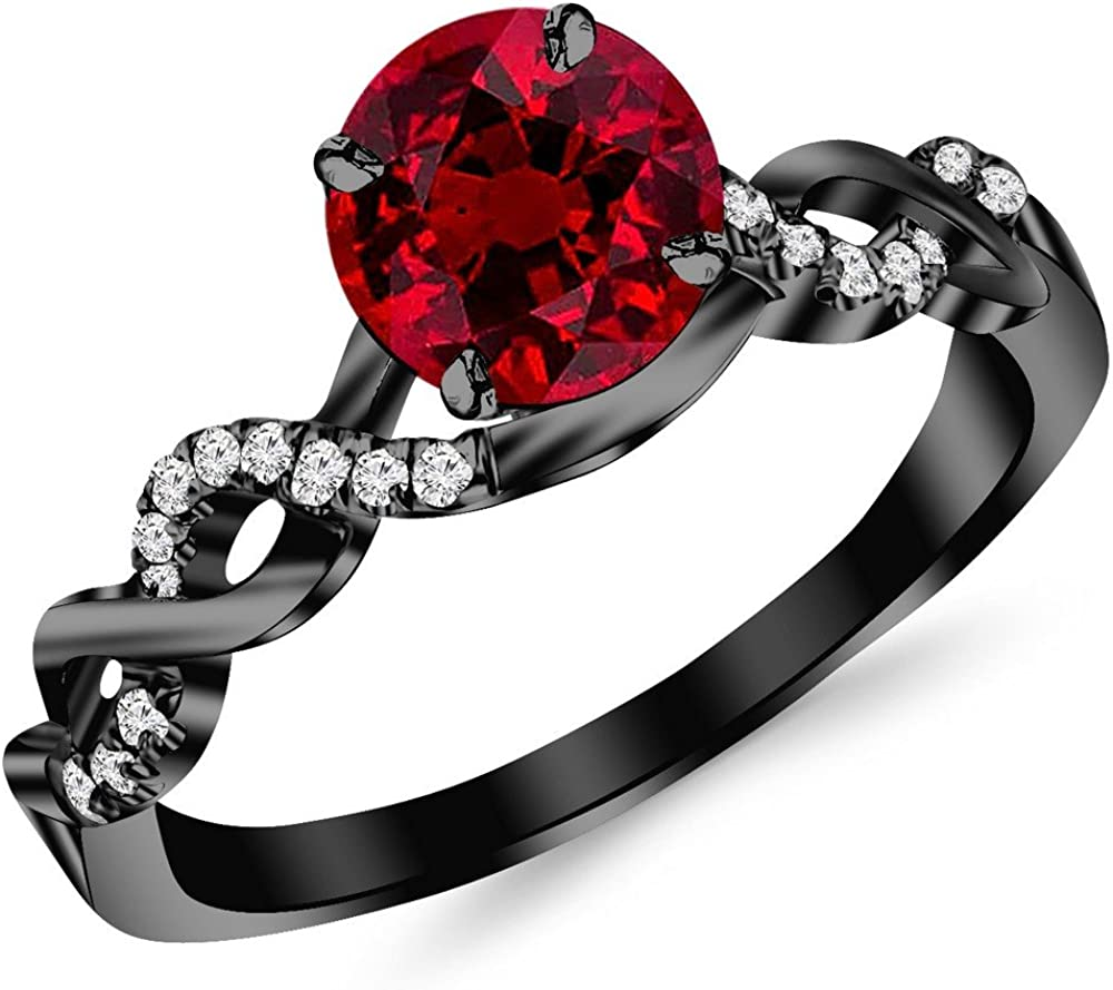 0.63 Carat 14K Black Gold Twisting Infinity Gold and Diamond Split Shank Pave Set Diamond Engagement Ring with a 0.5 Carat Natural Ruby Center (Heirloom Quality)
