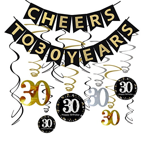 Tuoyi 30th Birthday Party Decorations KIT - Cheers to 30 Years Banner, Sparkling Celebration 30 Hanging Swirls, Perfect 30 Years Old Party Supplies 30th Anniversary Decorations (Banner)